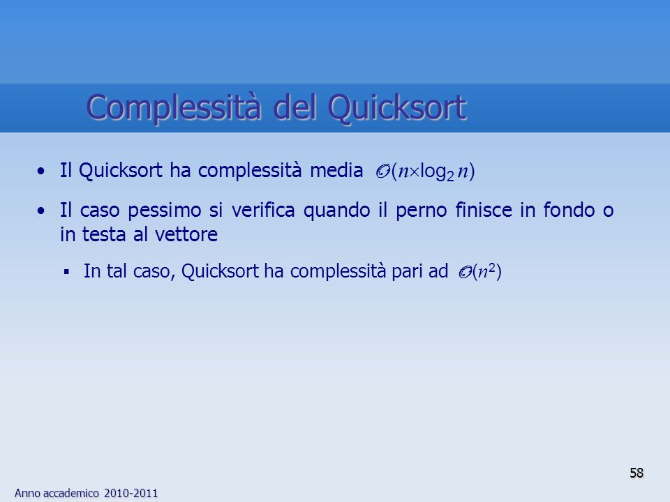 Complessità del Quicksort