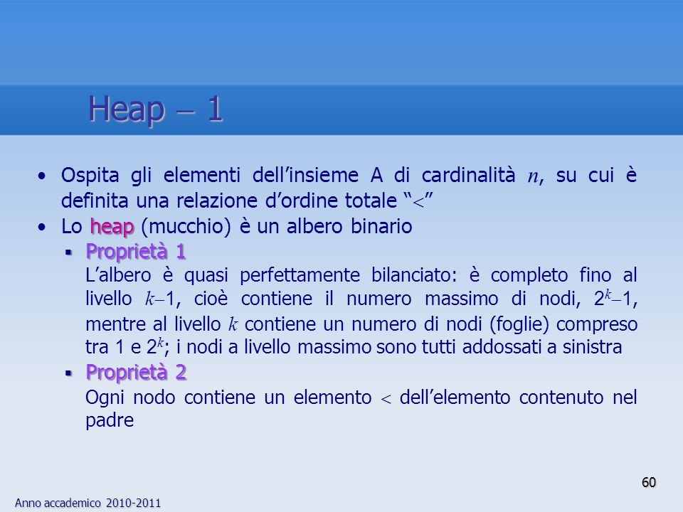 Heap  1 Ospita gli elementi dell'insieme A di cardinalità n, su cui è definita una relazione d'ordine totale 