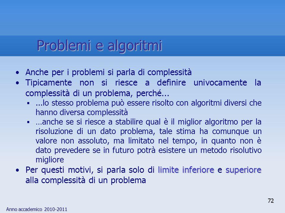 Problemi e algoritmi Anche per i problemi si parla di complessità