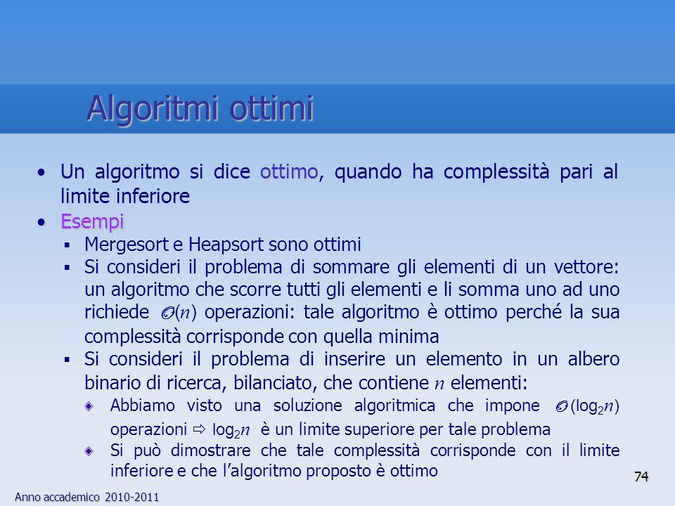 Algoritmi ottimi Un algoritmo si dice ottimo, quando ha complessità pari al limite inferiore. Esempi.