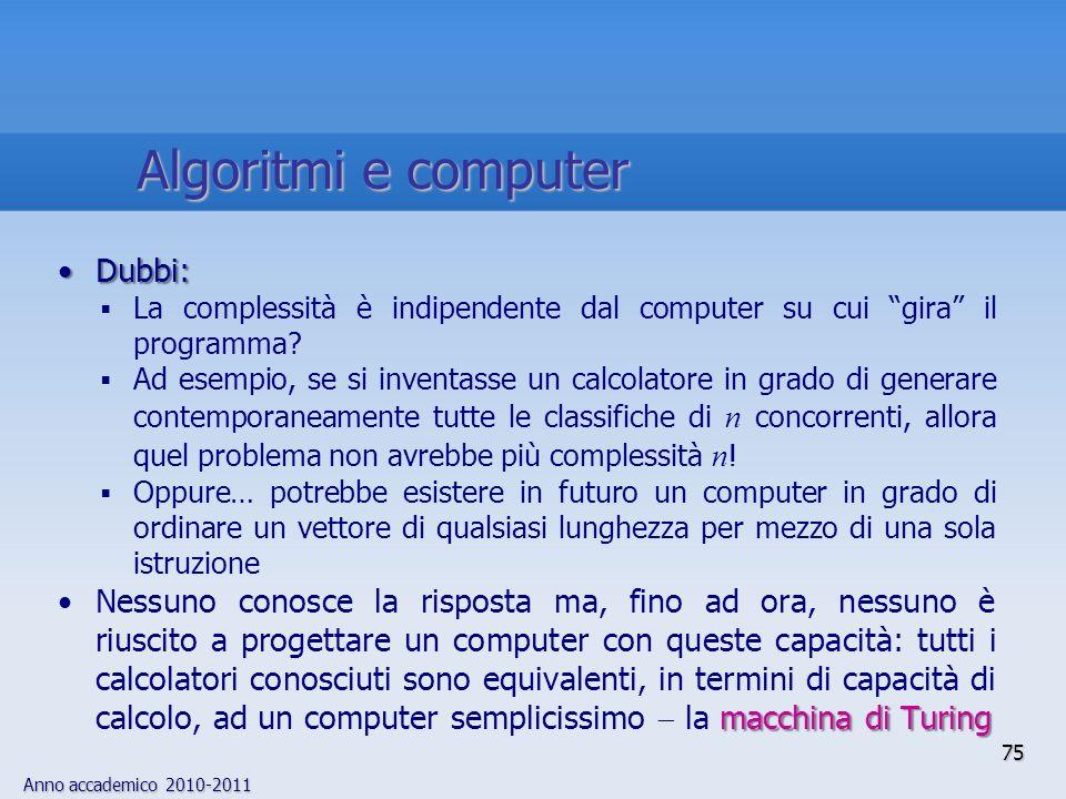 Algoritmi e computer Dubbi: