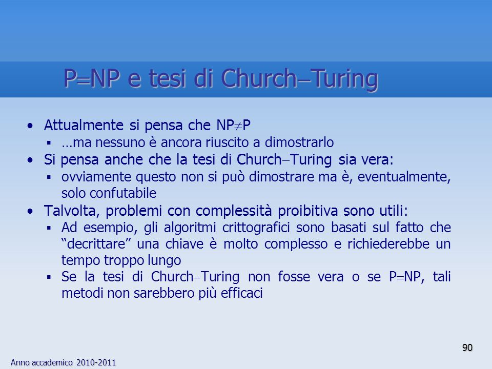 PNP e tesi di ChurchTuring