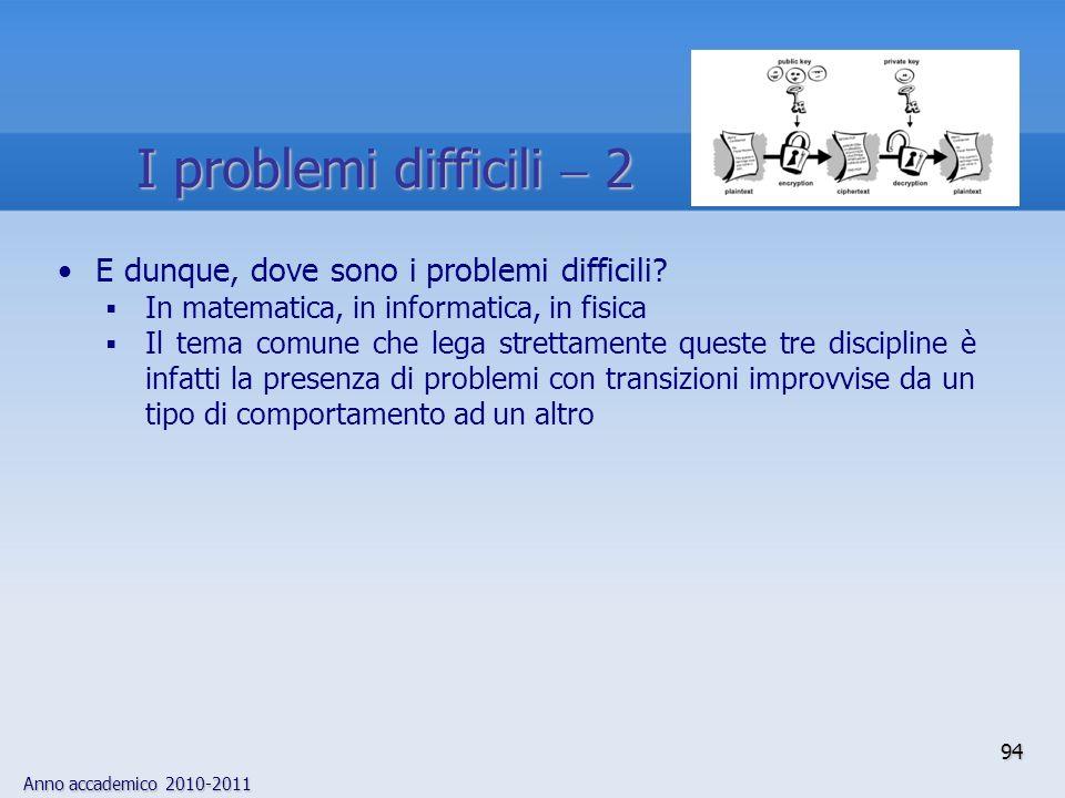 I problemi difficili  2 E dunque, dove sono i problemi difficili