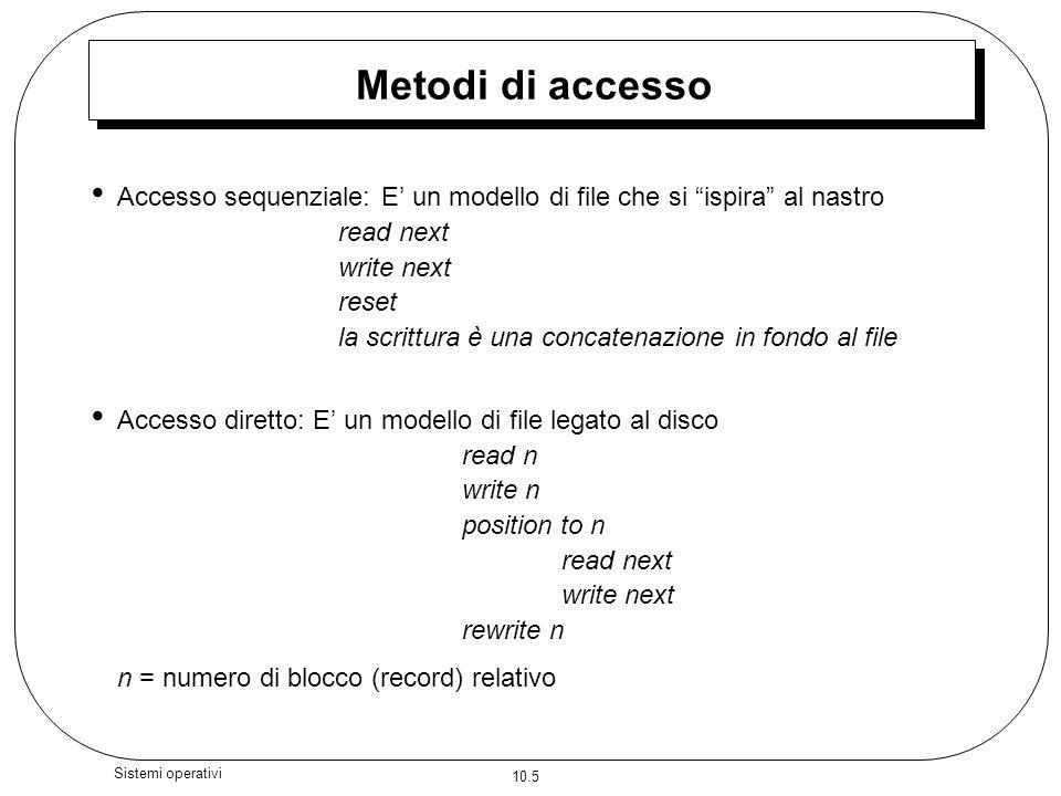 Metodi di accesso Accesso sequenziale: E' un modello di file che si ispira al nastro. read next.