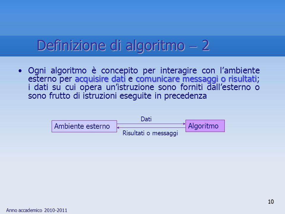 Definizione di algoritmo  2