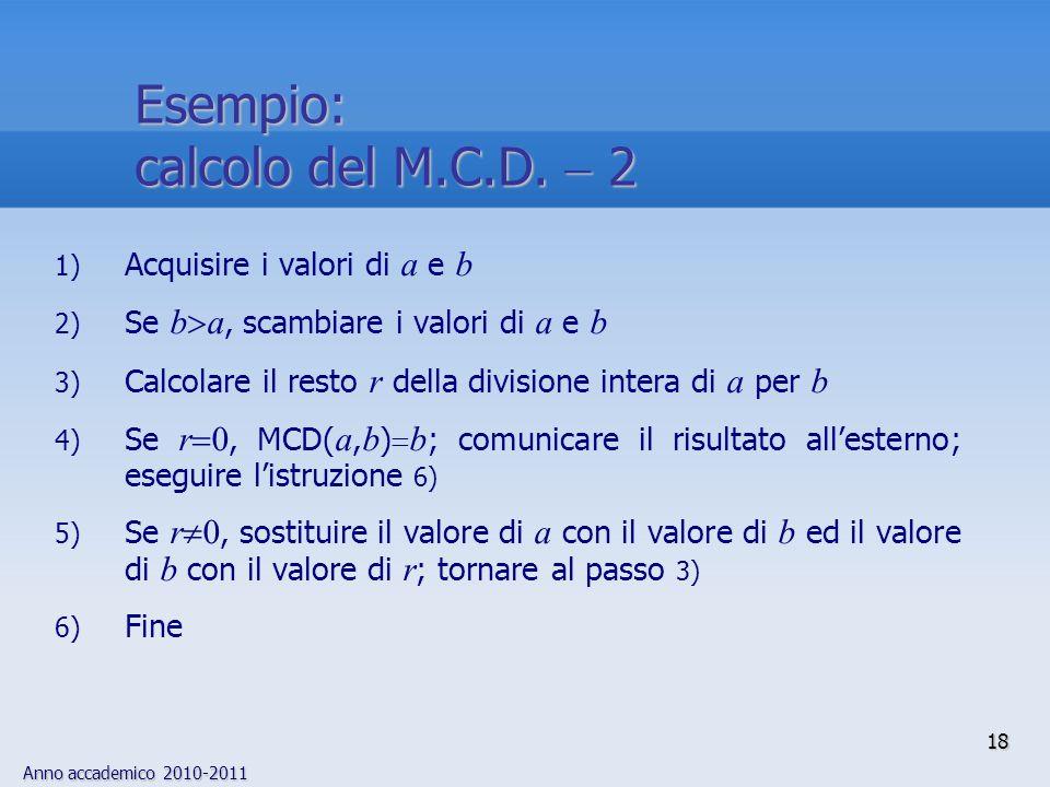 Esempio: calcolo del M.C.D.  2 Acquisire i valori di a e b