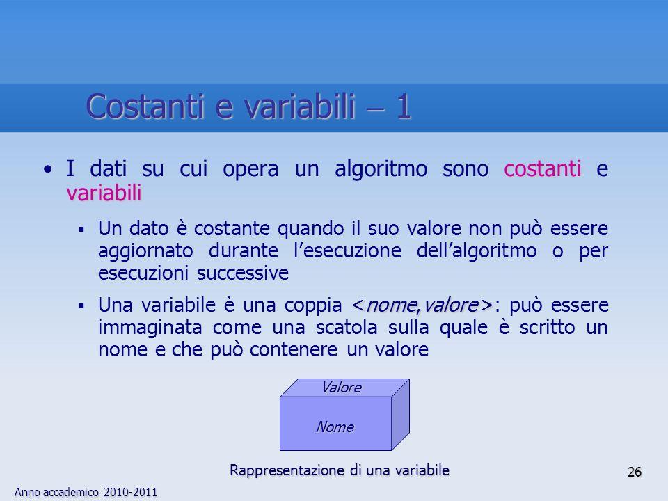 Costanti e variabili  1 I dati su cui opera un algoritmo sono costanti e variabili.