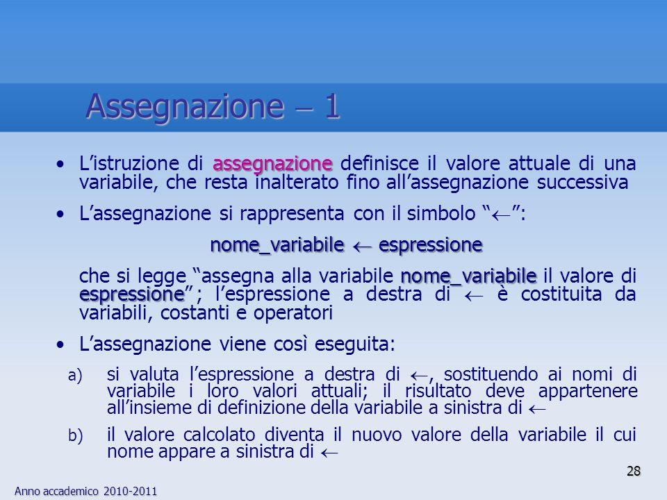 nome_variabile  espressione