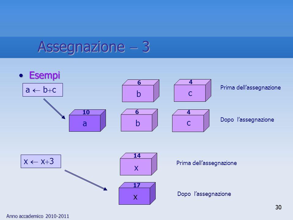 Assegnazione  3 Esempi a  bc b c c a b x  x3 x x 6 4