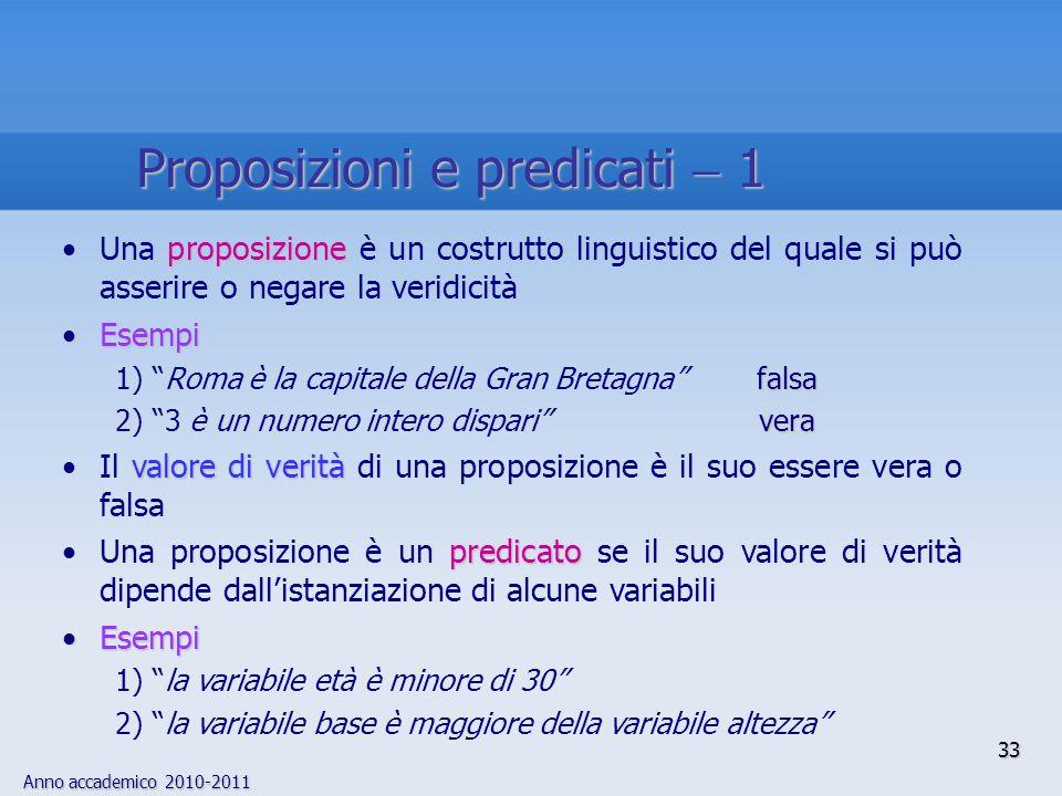 Proposizioni e predicati  1