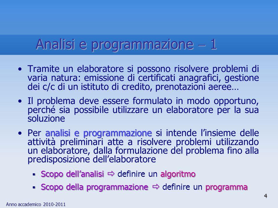 Analisi e programmazione  1