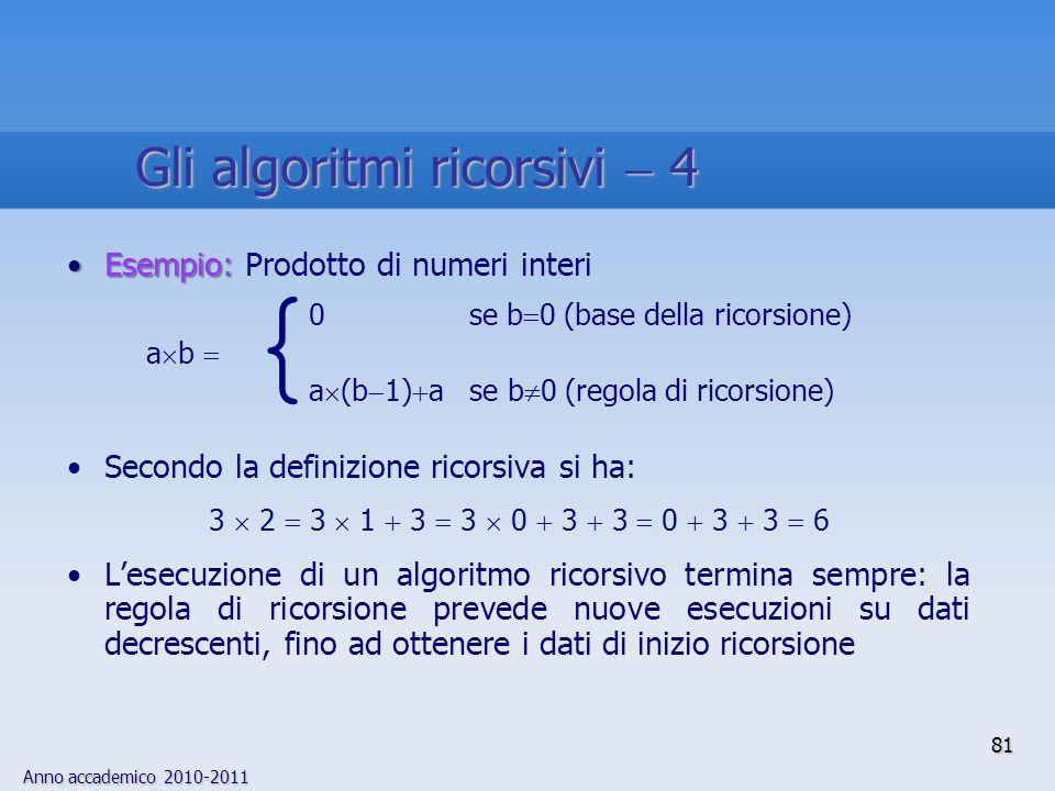 { Gli algoritmi ricorsivi  4 Esempio: Prodotto di numeri interi