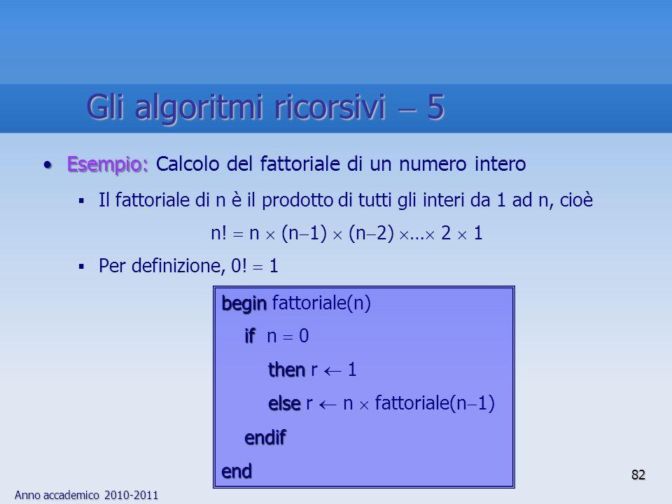 Gli algoritmi ricorsivi  5