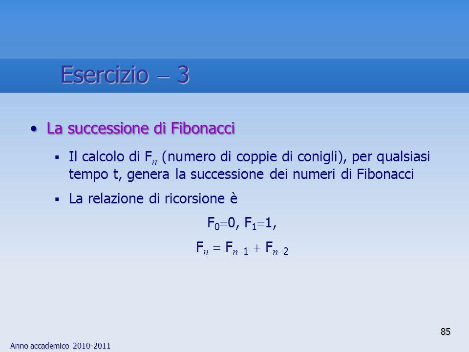 Esercizio  3 La successione di Fibonacci