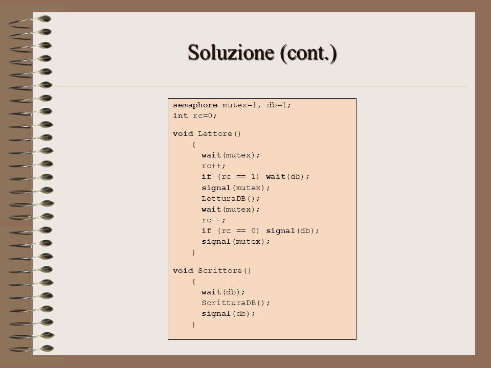 Soluzione (cont.) semaphore mutex=1, db=1; int rc=0; void Lettore() {