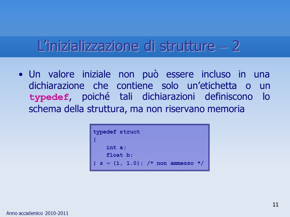 L'inizializzazione di strutture  2