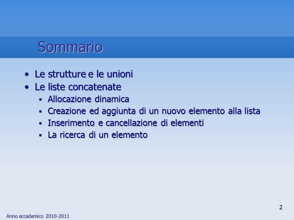 Sommario Le strutture e le unioni Le liste concatenate