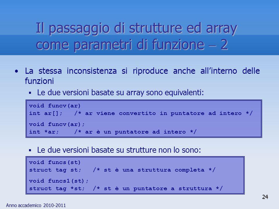 Il passaggio di strutture ed array come parametri di funzione  2