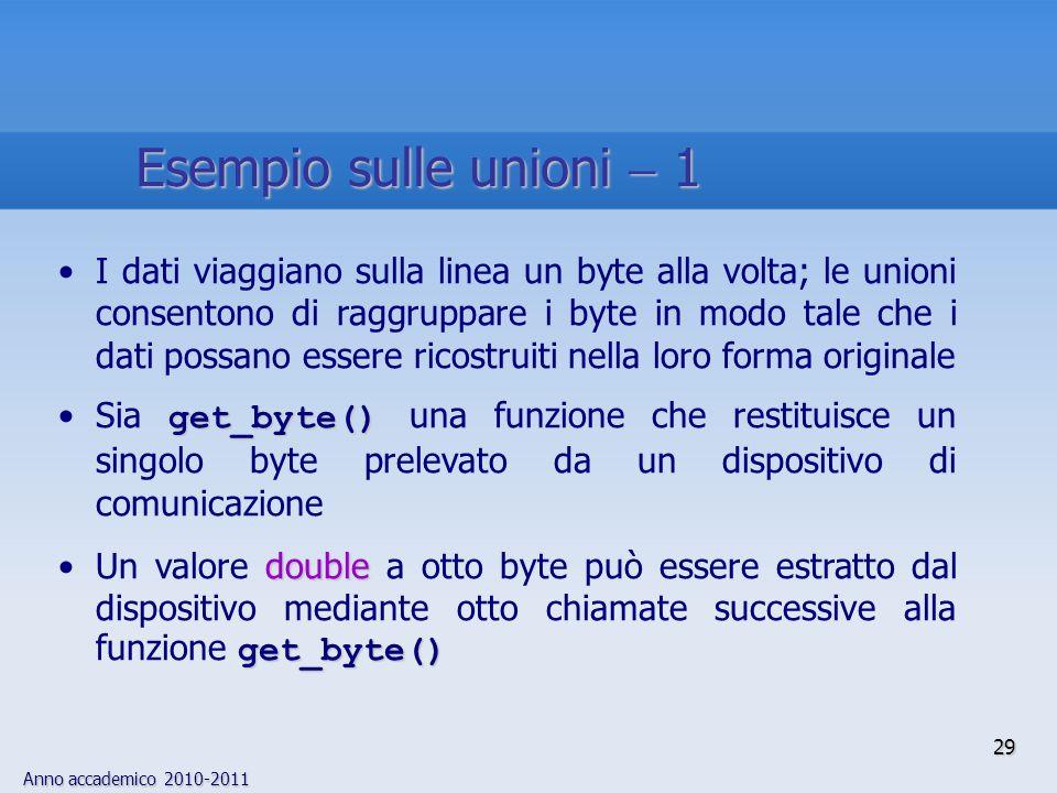 Esempio sulle unioni  1