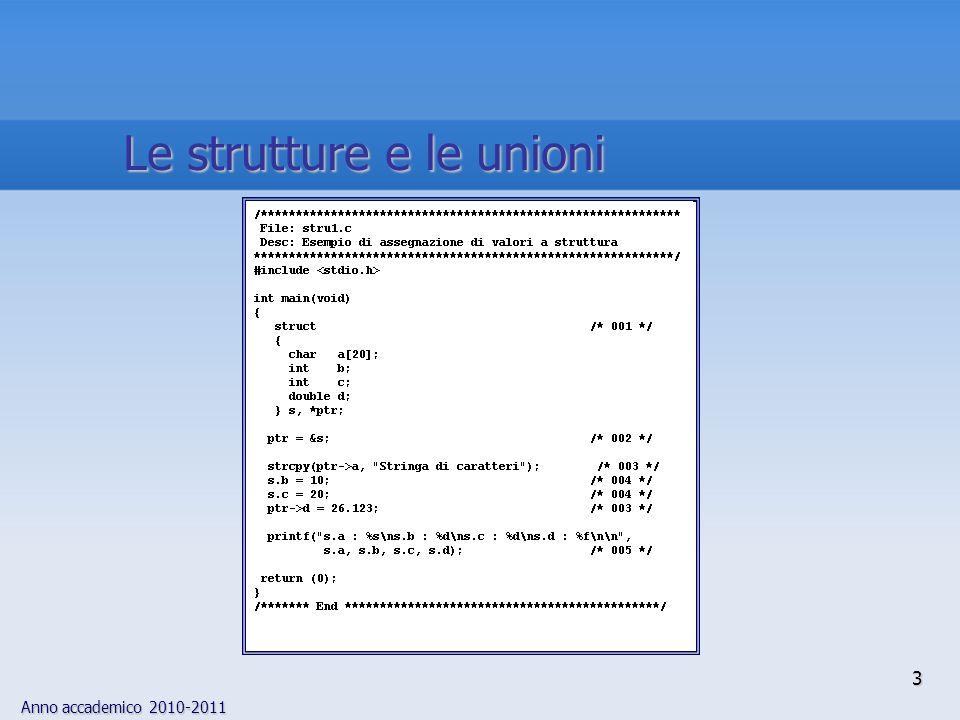 Le strutture e le unioni