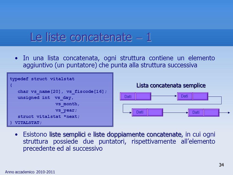 Le liste concatenate  1 In una lista concatenata, ogni struttura contiene un elemento aggiuntivo (un puntatore) che punta alla struttura successiva.