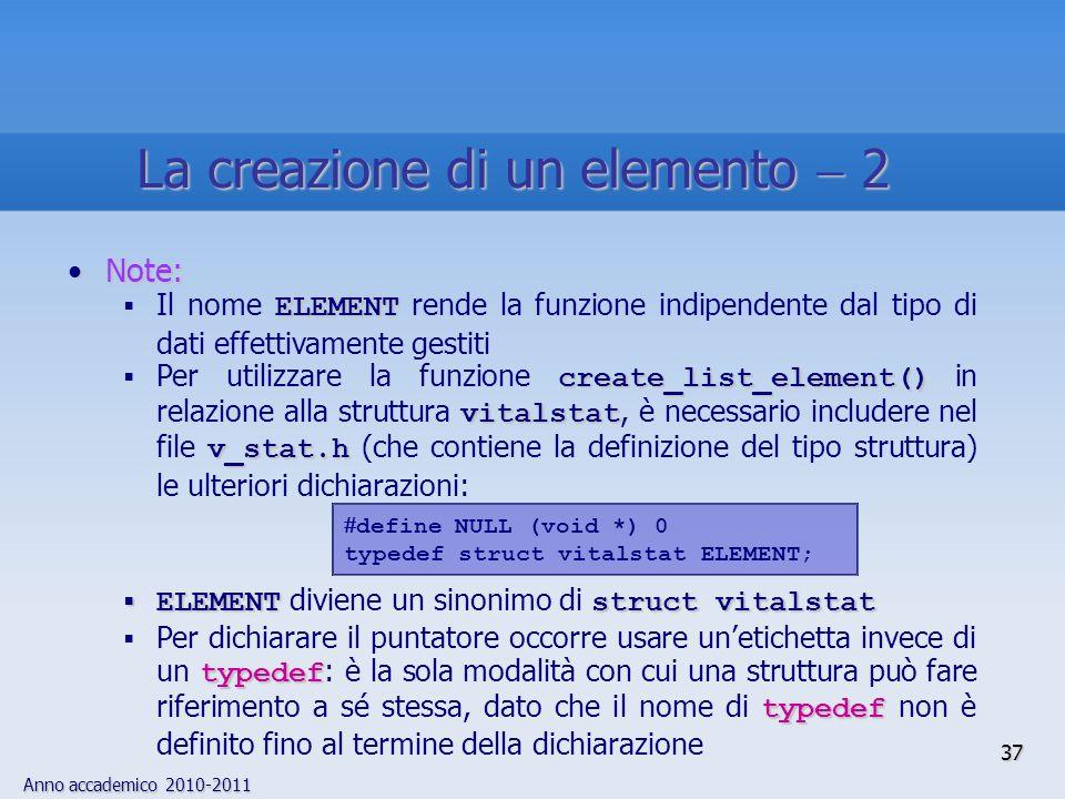 La creazione di un elemento  2