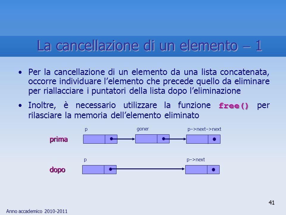 La cancellazione di un elemento  1