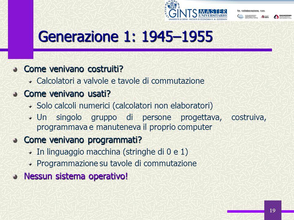 Generazione 1: 1945–1955 Come venivano costruiti Come venivano usati