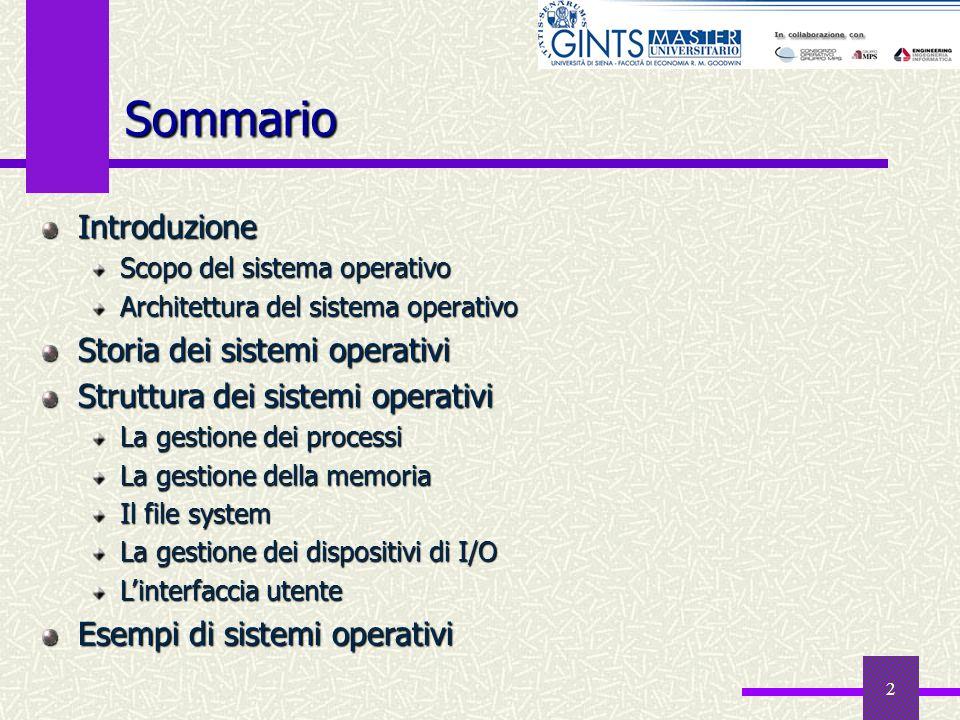 Sommario Introduzione Storia dei sistemi operativi