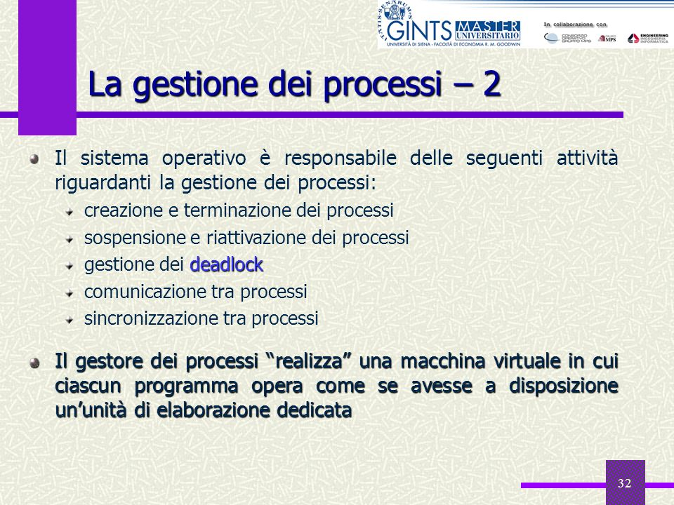La gestione dei processi – 2
