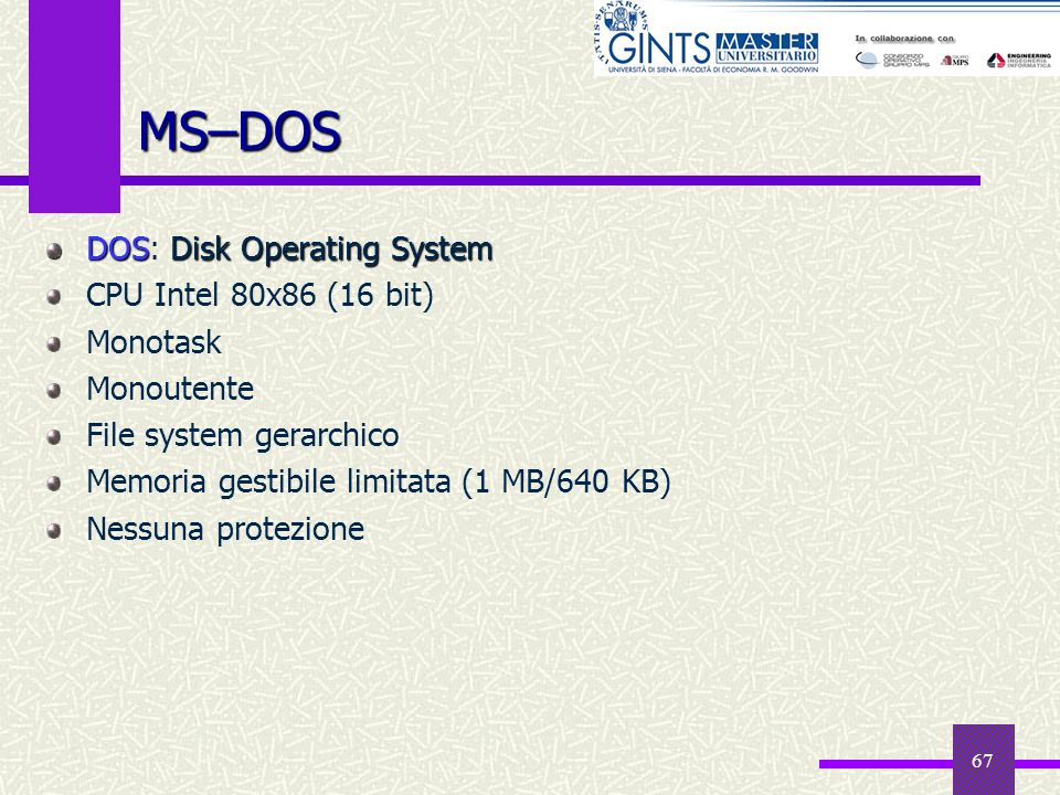 MS–DOS DOS: Disk Operating System CPU Intel 80x86 (16 bit) Monotask