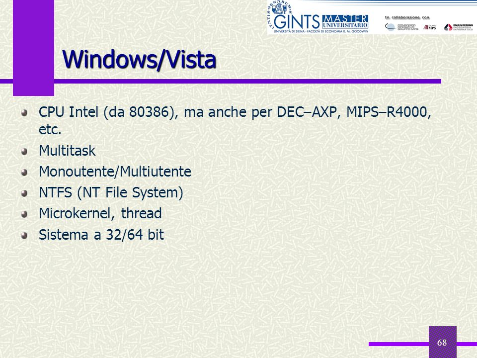 Windows/Vista CPU Intel (da 80386), ma anche per DEC–AXP, MIPS–R4000, etc. Multitask. Monoutente/Multiutente.