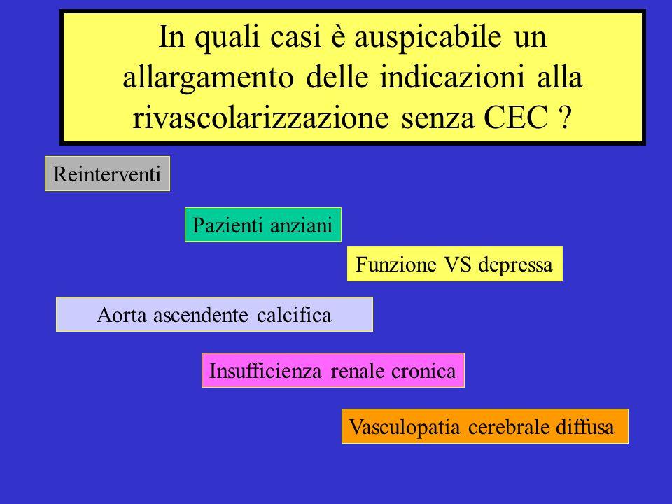 In quali casi è auspicabile un allargamento delle indicazioni alla rivascolarizzazione senza CEC