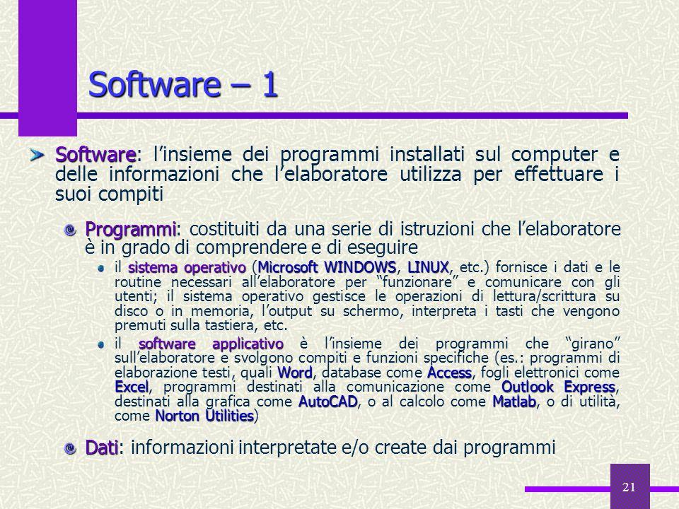 Software – 1 Software: l'insieme dei programmi installati sul computer e delle informazioni che l'elaboratore utilizza per effettuare i suoi compiti.
