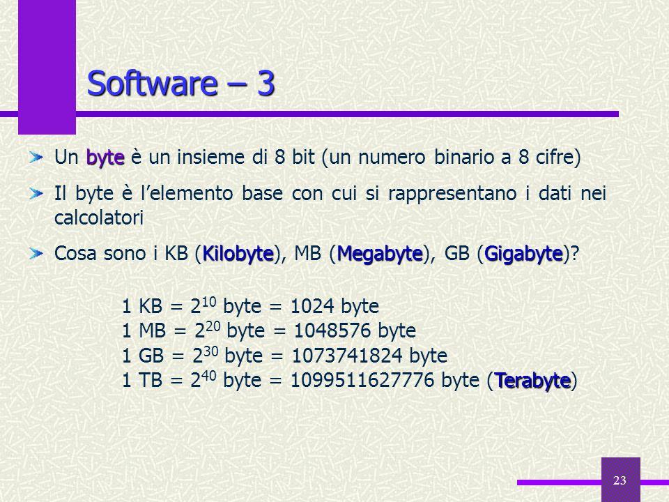 Software – 3 Un byte è un insieme di 8 bit (un numero binario a 8 cifre) Il byte è l'elemento base con cui si rappresentano i dati nei calcolatori.