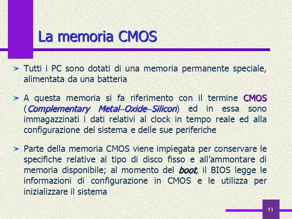 La memoria CMOS Tutti i PC sono dotati di una memoria permanente speciale, alimentata da una batteria.