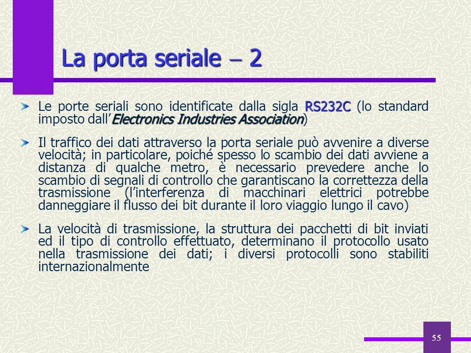 La porta seriale  2 Le porte seriali sono identificate dalla sigla RS232C (lo standard imposto dall'Electronics Industries Association)