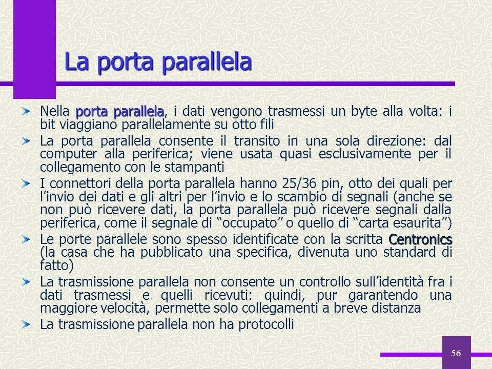 La porta parallela Nella porta parallela, i dati vengono trasmessi un byte alla volta: i bit viaggiano parallelamente su otto fili.
