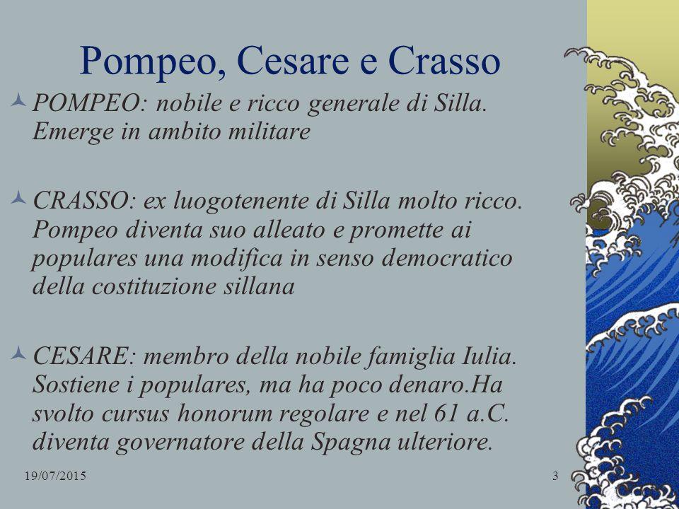 Pompeo, Cesare e Crasso POMPEO: nobile e ricco generale di Silla. Emerge in ambito militare.