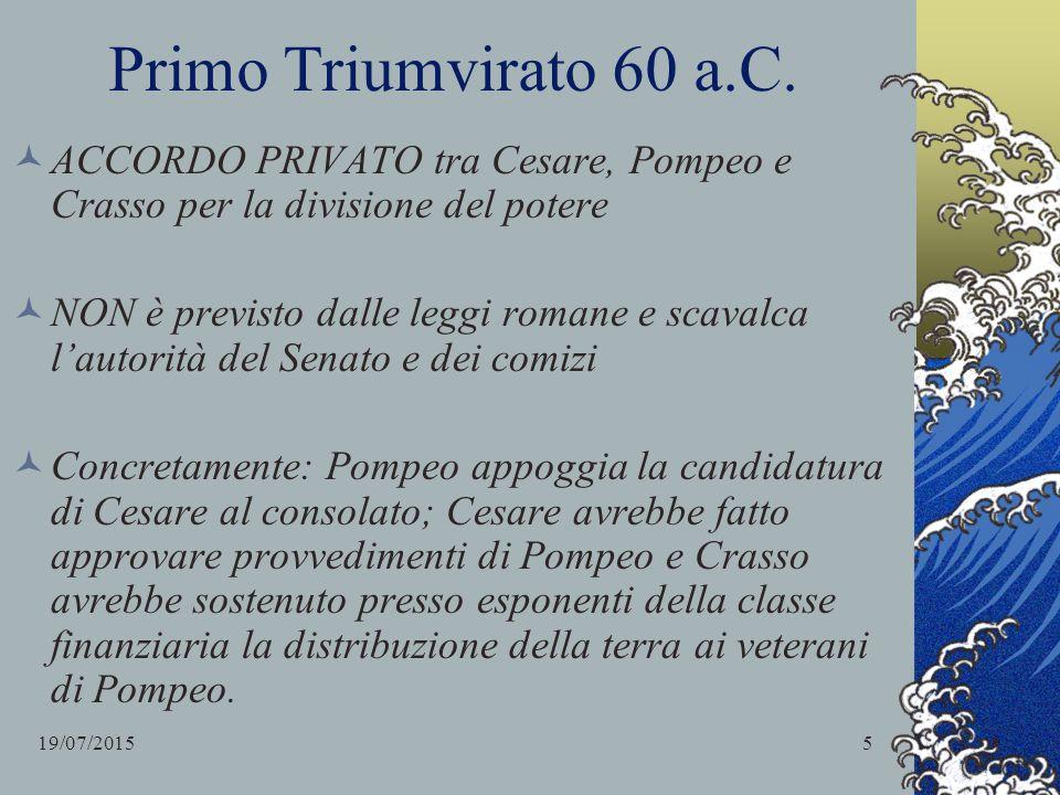 Primo Triumvirato 60 a.C. ACCORDO PRIVATO tra Cesare, Pompeo e Crasso per la divisione del potere.