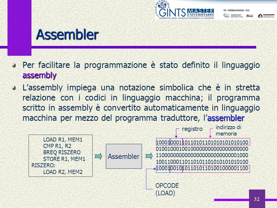 Assembler Per facilitare la programmazione è stato definito il linguaggio assembly.