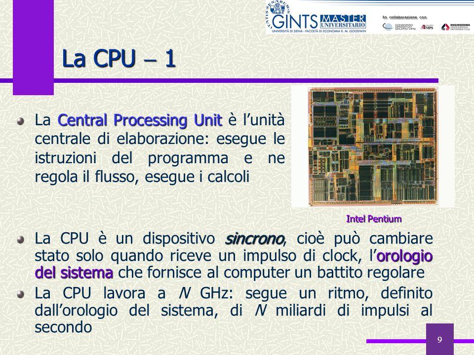 La CPU  1 La Central Processing Unit è l'unità centrale di elaborazione: esegue le istruzioni del programma e ne regola il flusso, esegue i calcoli.