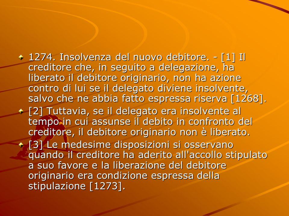 1274. Insolvenza del nuovo debitore