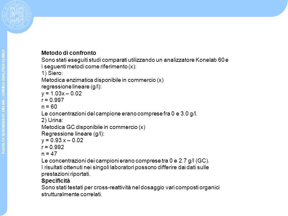 Metodo di confronto Sono stati eseguiti studi comparati utilizzando un analizzatore Konelab 60 e. i seguenti metodi come riferimento (x):