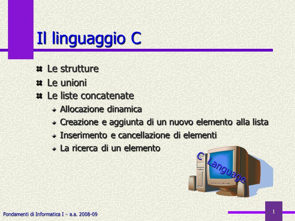 Il linguaggio C Le strutture Le unioni Le liste concatenate C Language