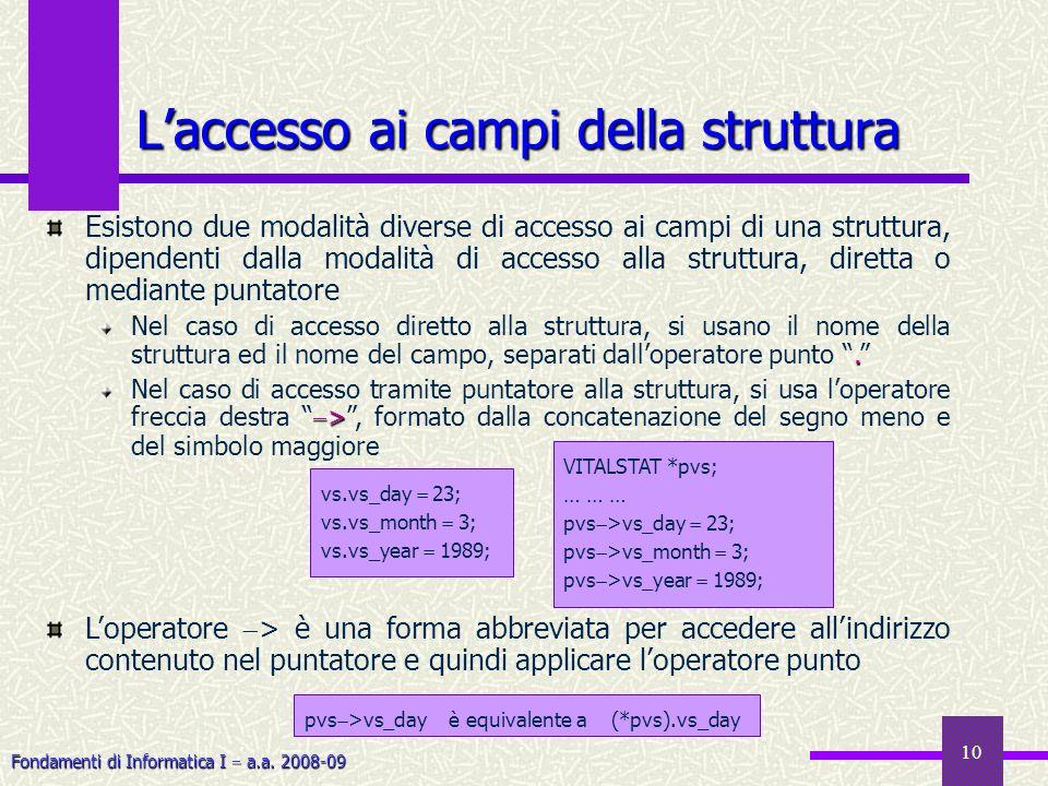 L'accesso ai campi della struttura