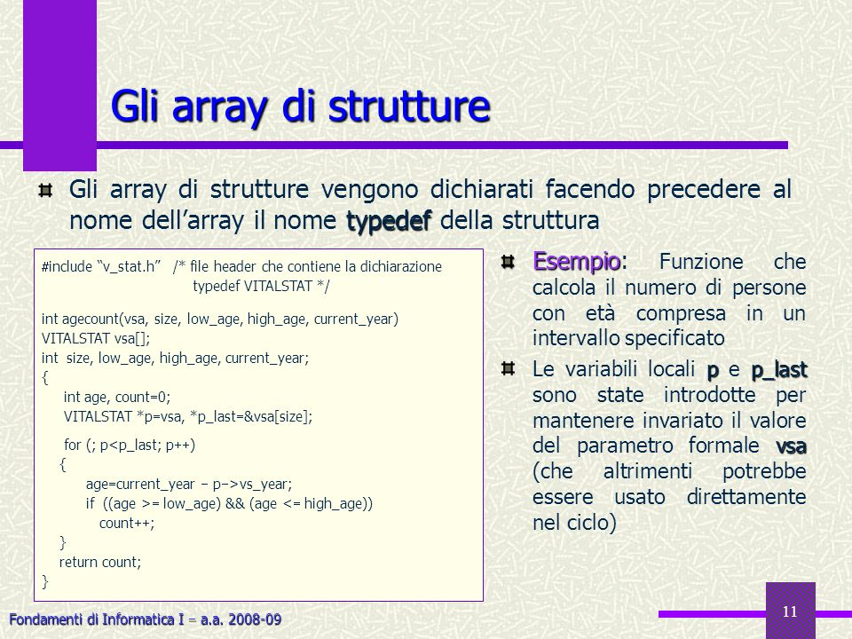 Gli array di strutture Gli array di strutture vengono dichiarati facendo precedere al nome dell'array il nome typedef della struttura.