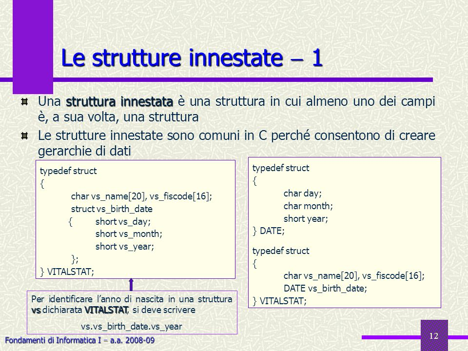 Le strutture innestate  1