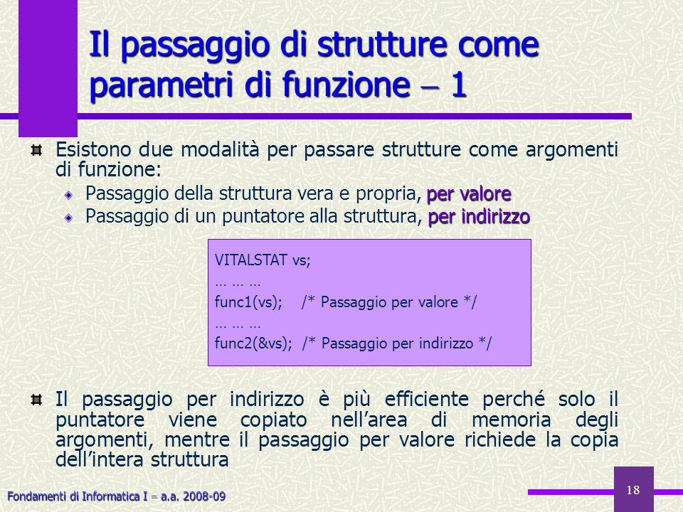Il passaggio di strutture come parametri di funzione  1