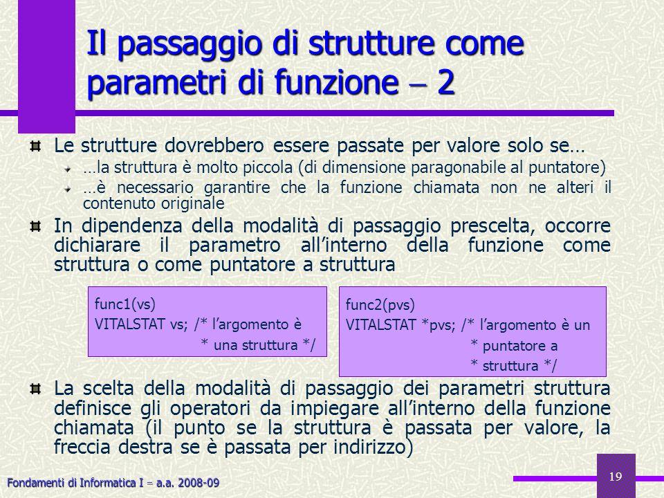 Il passaggio di strutture come parametri di funzione  2